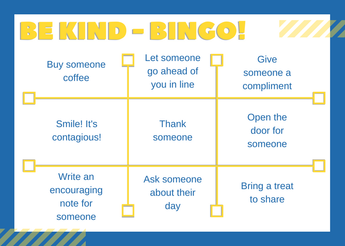 Recognitions Be Kind Bingo Card