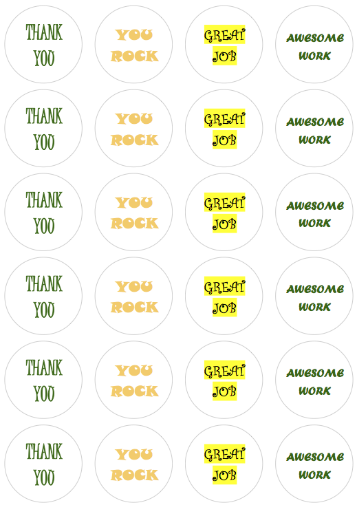 Recognition Stickers Colorful